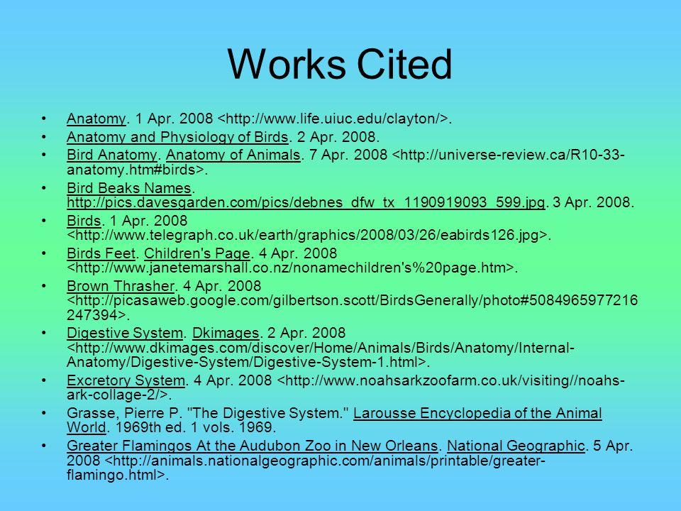 Works Cited Anatomy. 1 Apr. 2008 <http://www.life.uiuc.edu/clayton/>. Anatomy and Physiology of Birds. 2 Apr. 2008.