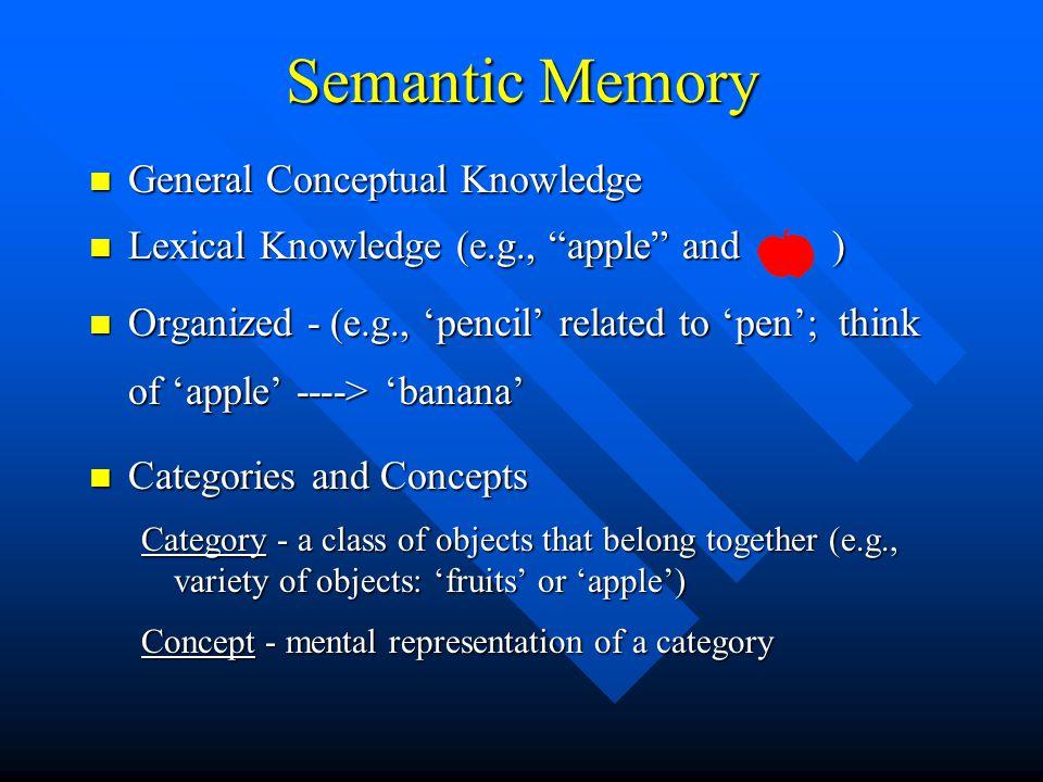 Semantic Memory General Conceptual Knowledge