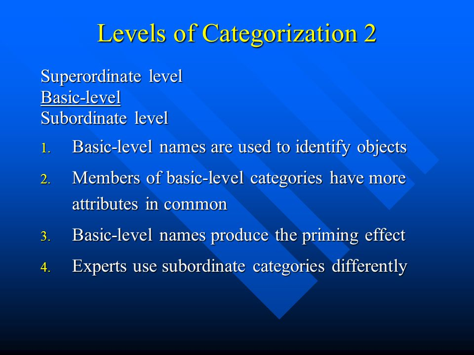 Levels of Categorization 2