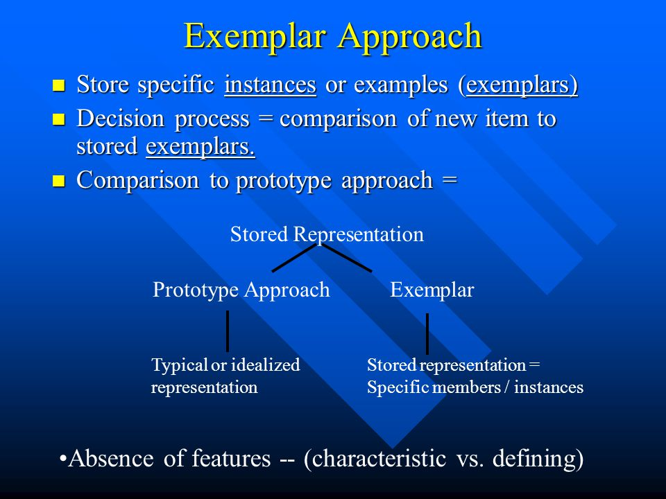 Exemplar Approach Store specific instances or examples (exemplars)