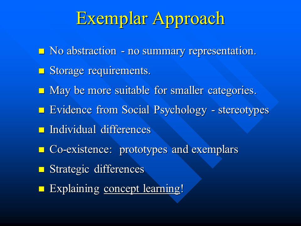 Exemplar Approach No abstraction - no summary representation.