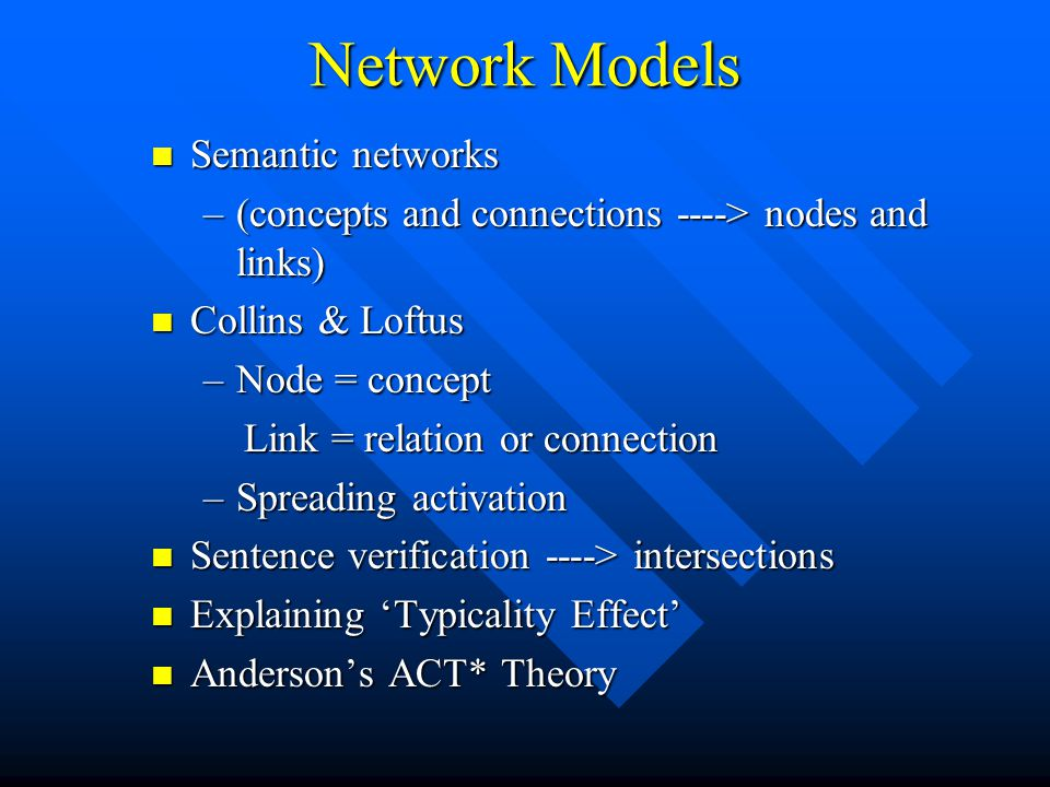 Network Models Semantic networks