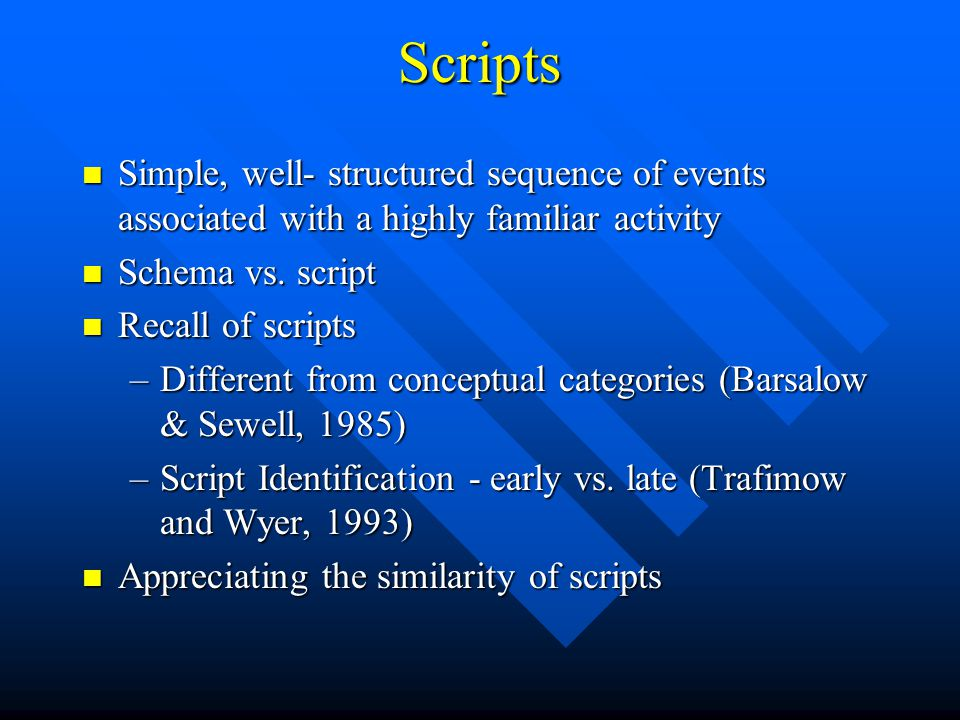 Scripts Simple, well- structured sequence of events associated with a highly familiar activity. Schema vs. script.