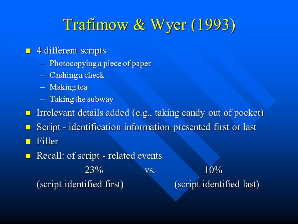 Trafimow & Wyer (1993) 4 different scripts