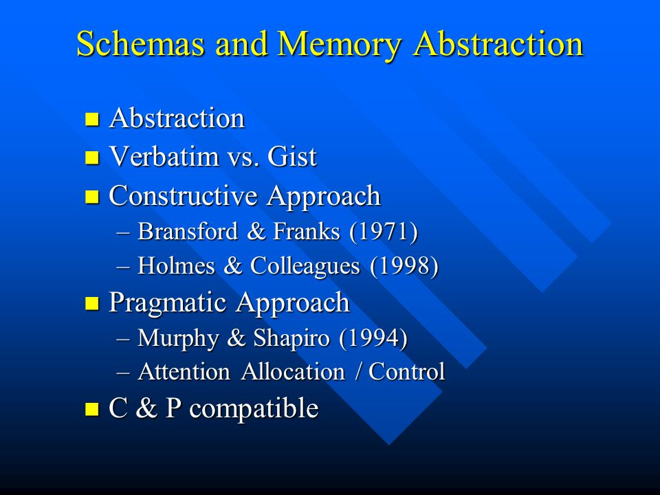 Schemas and Memory Abstraction