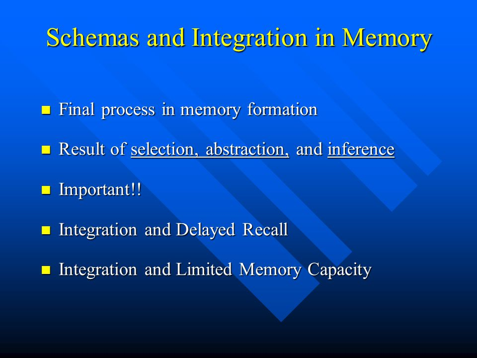 Schemas and Integration in Memory