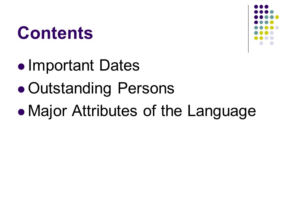 Contents Important Dates Outstanding Persons