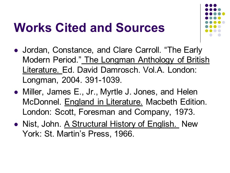 Works Cited and Sources
