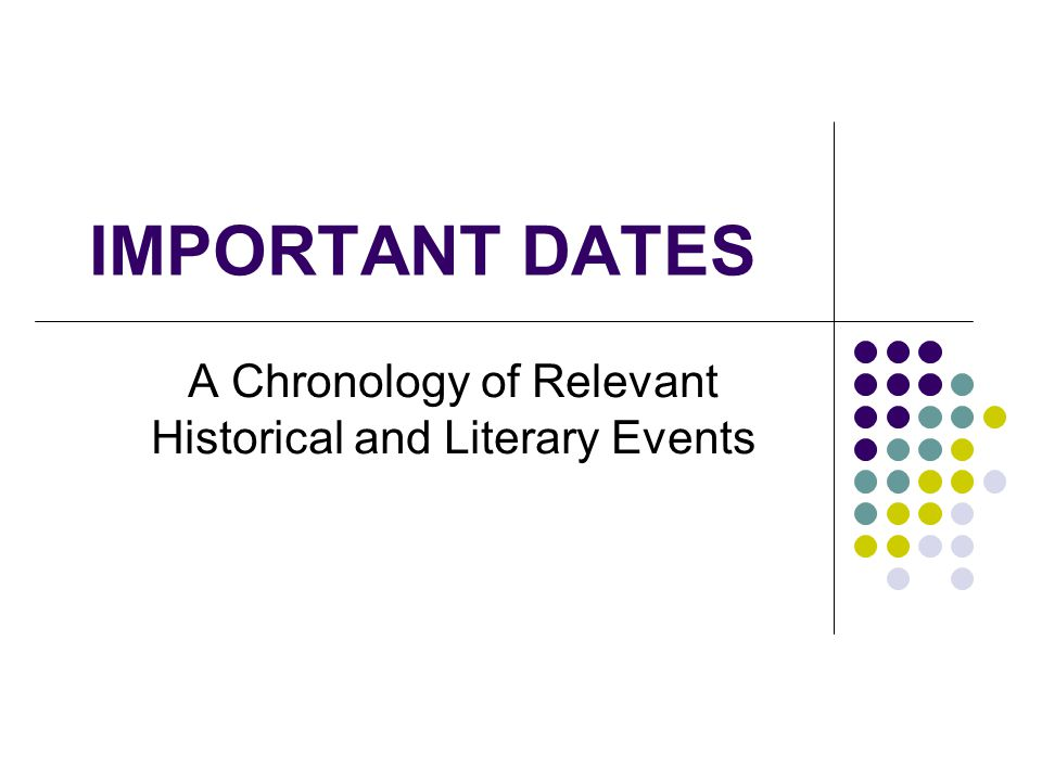 A Chronology of Relevant Historical and Literary Events