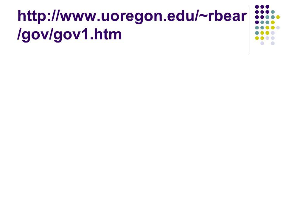 http://www.uoregon.edu/~rbear/gov/gov1.htm