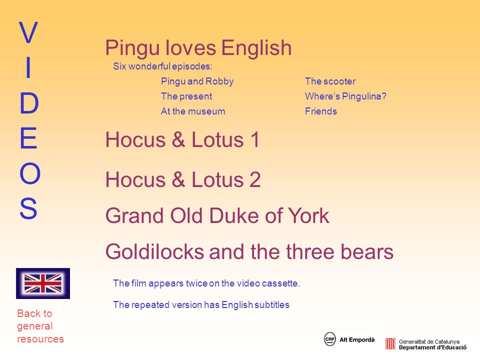 VIDEOS Pingu loves English Hocus & Lotus 1 Hocus & Lotus 2