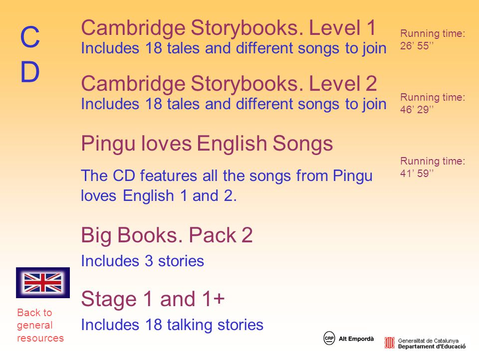 CD Cambridge Storybooks. Level 1 Cambridge Storybooks. Level 2