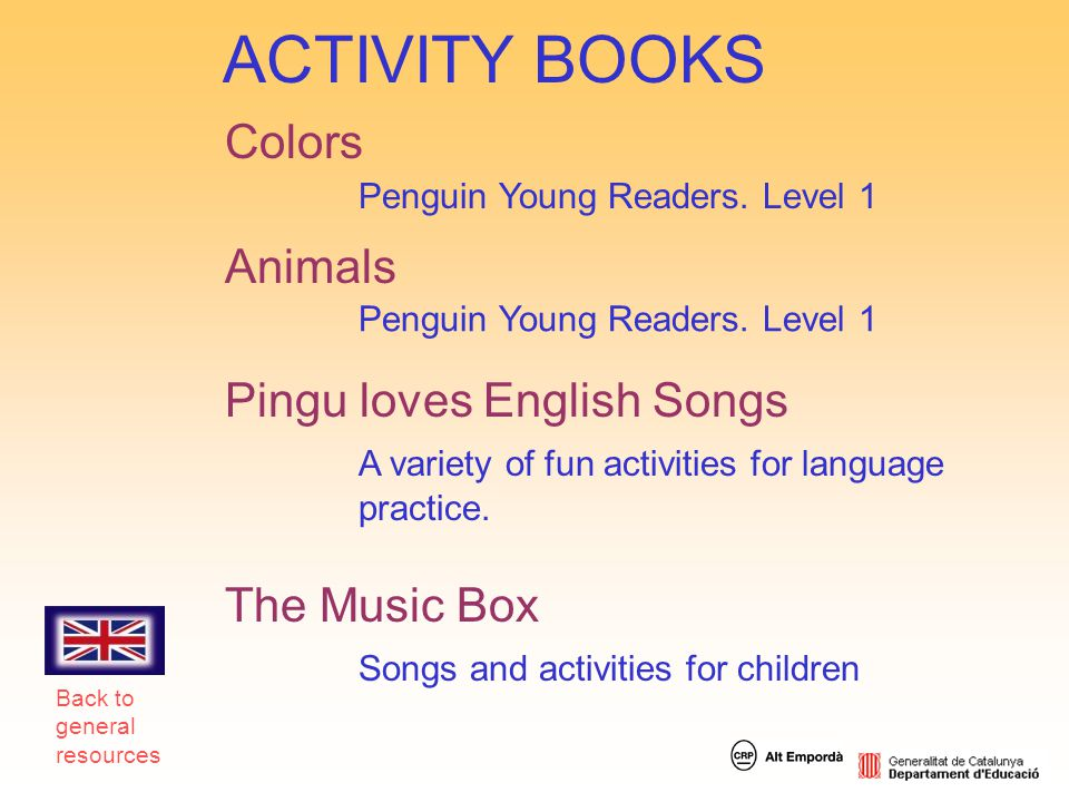 ACTIVITY BOOKS Colors Animals Pingu loves English Songs The Music Box