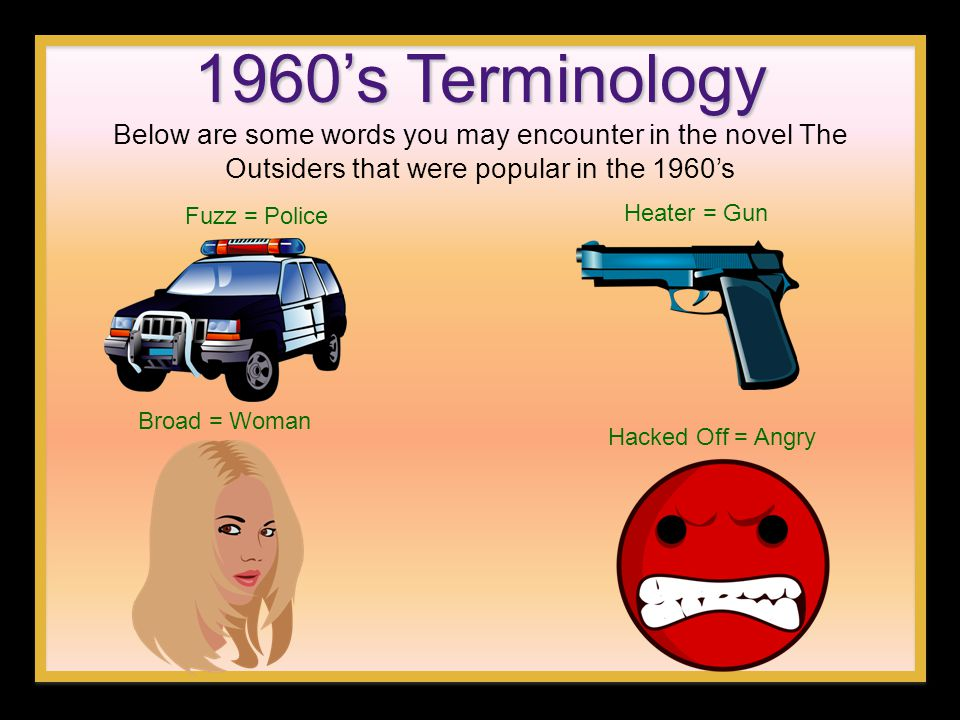 1960's Terminology Below are some words you may encounter in the novel The Outsiders that were popular in the 1960's.