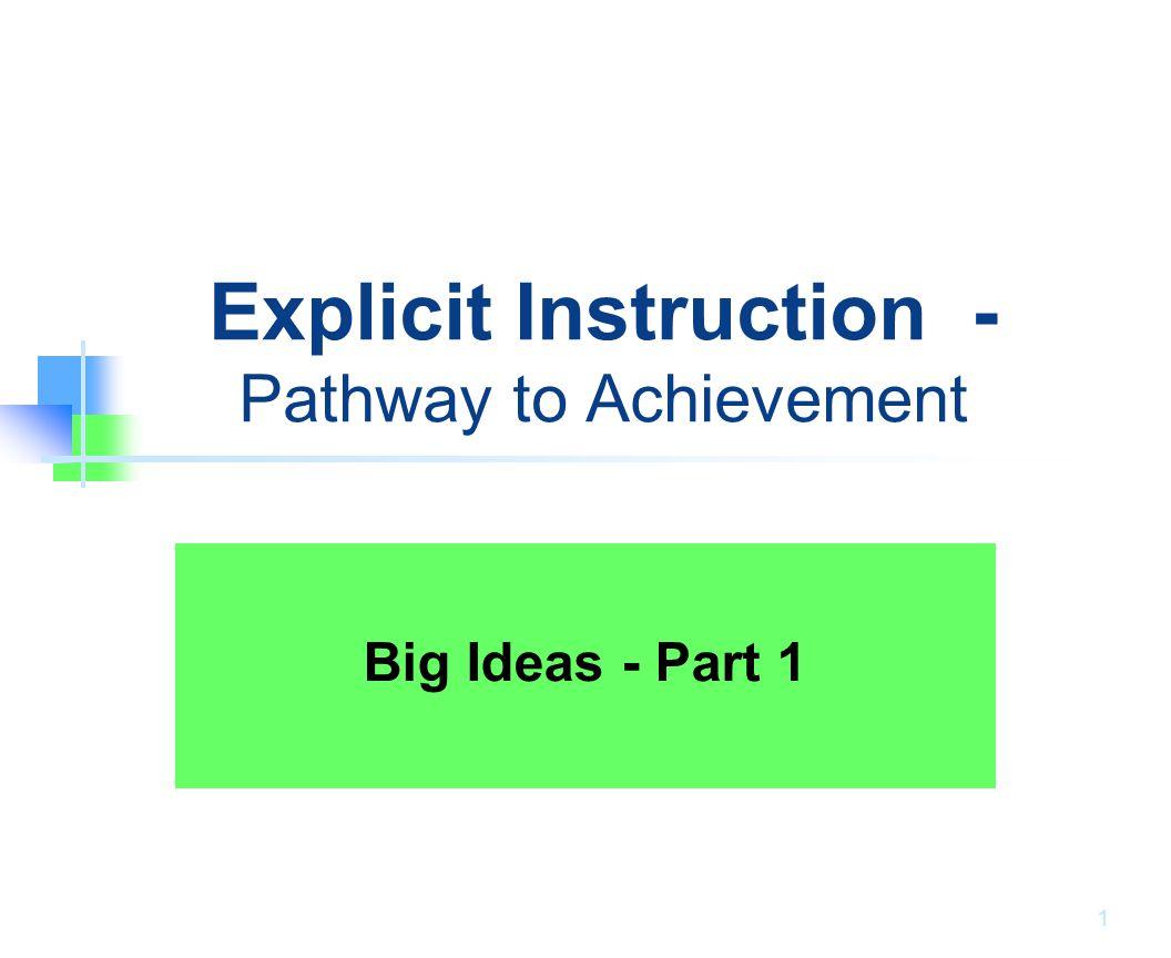 Explicit Instruction - Pathway to Achievement