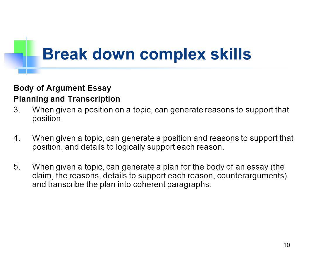 Break down complex skills