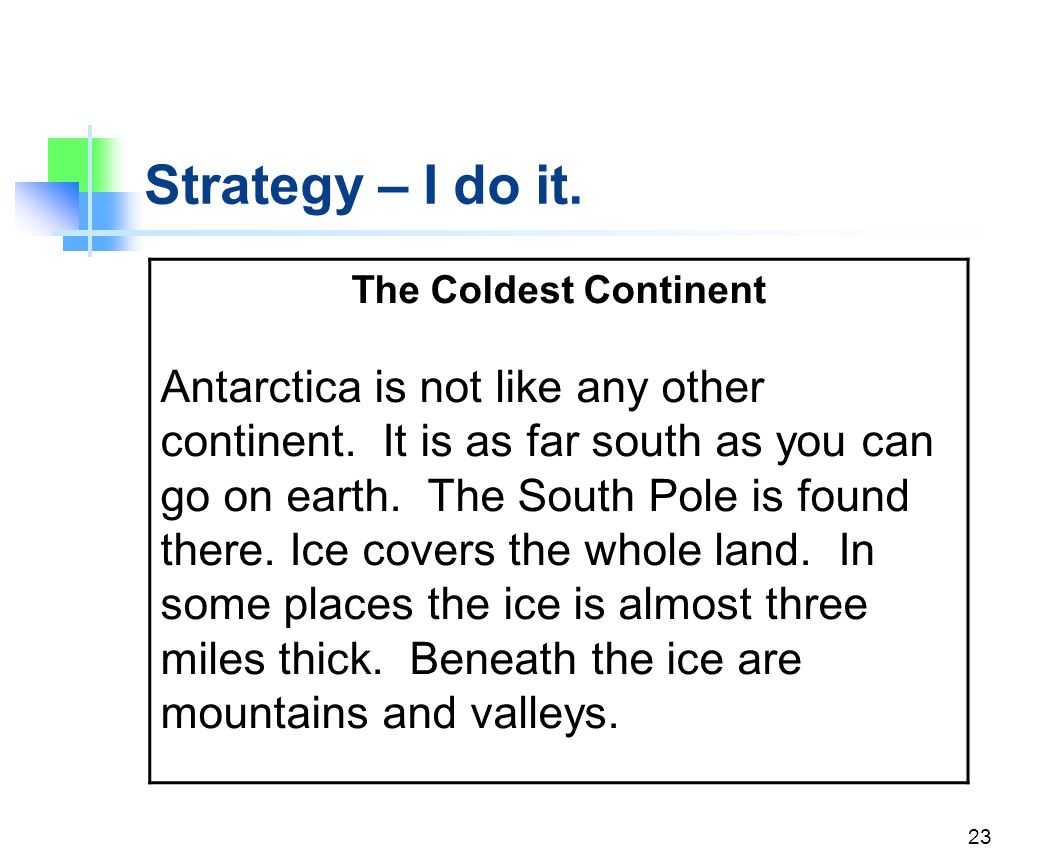 Strategy – I do it. The Coldest Continent.