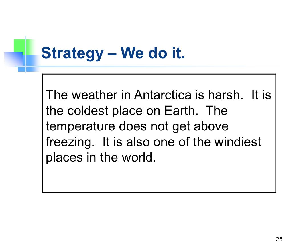 Strategy – We do it.