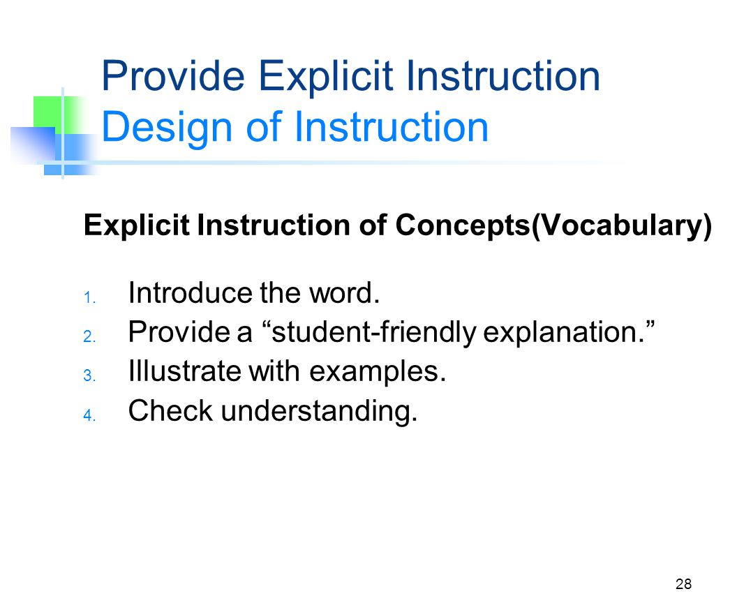 Provide Explicit Instruction Design of Instruction