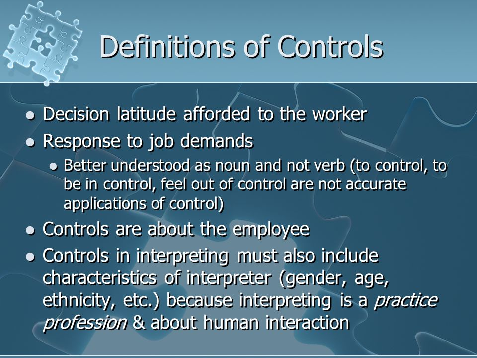 Definitions of Controls