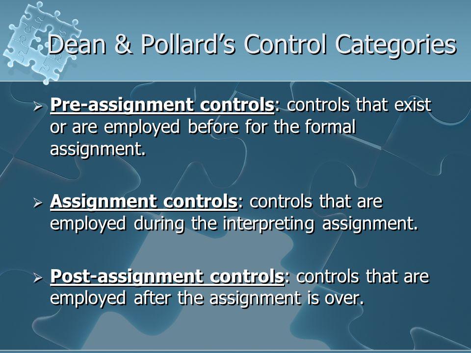 Dean & Pollard's Control Categories