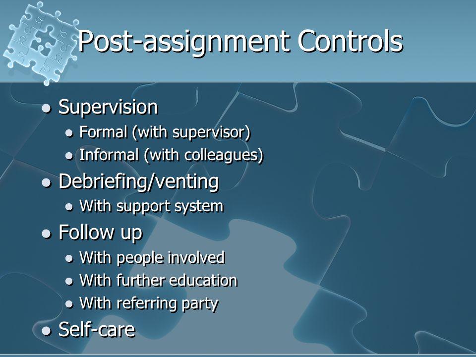 Post-assignment Controls