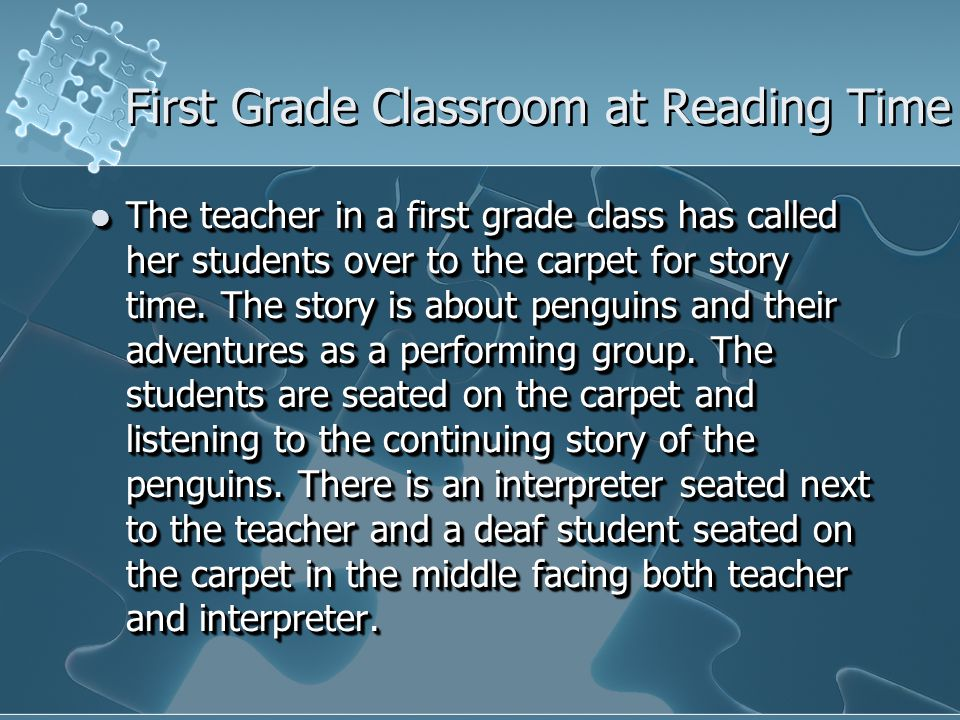 First Grade Classroom at Reading Time