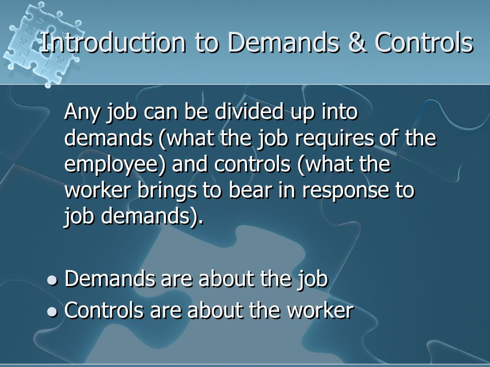 Introduction to Demands & Controls