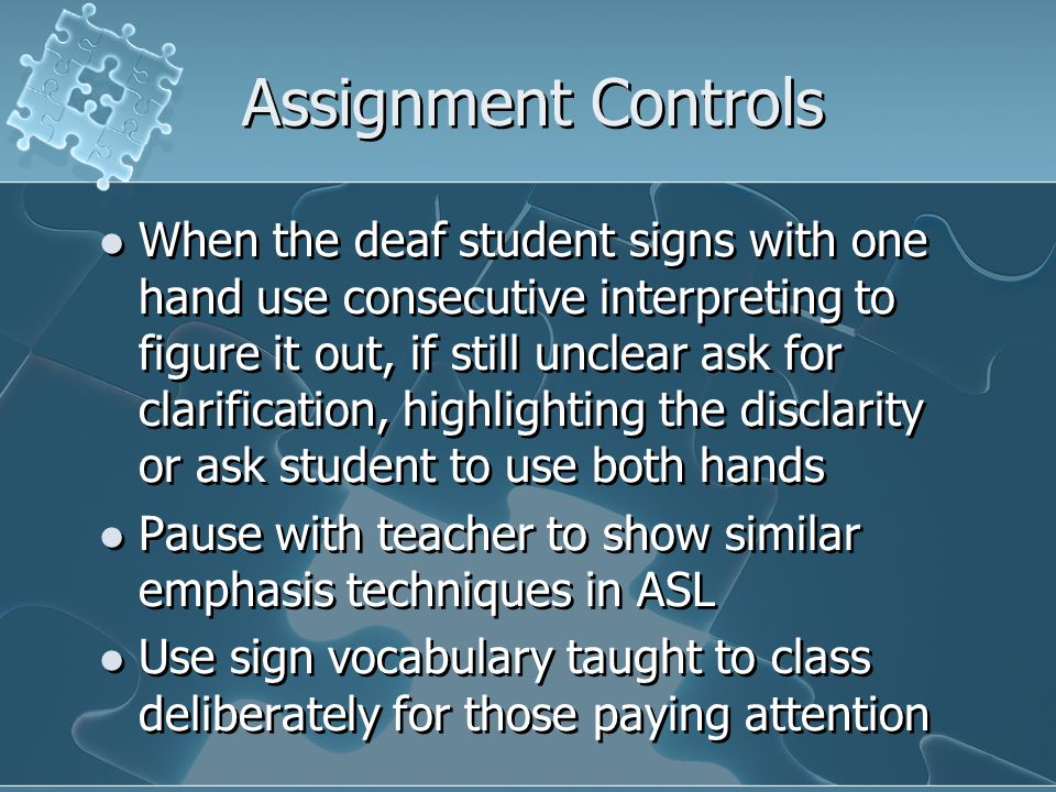 Assignment Controls