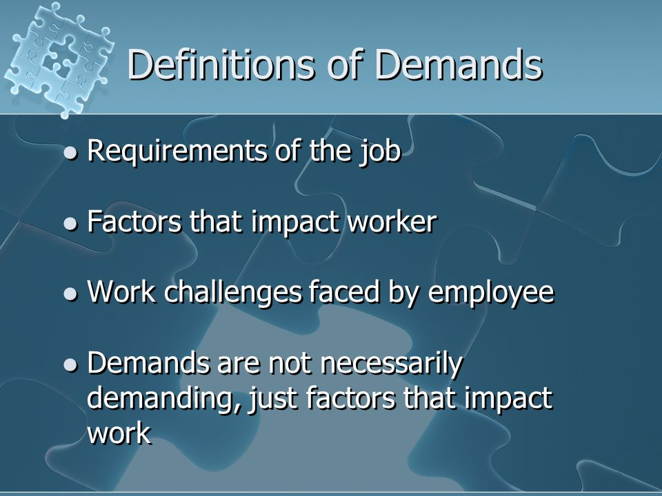 Definitions of Demands