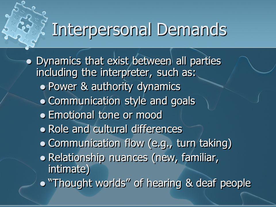 Interpersonal Demands