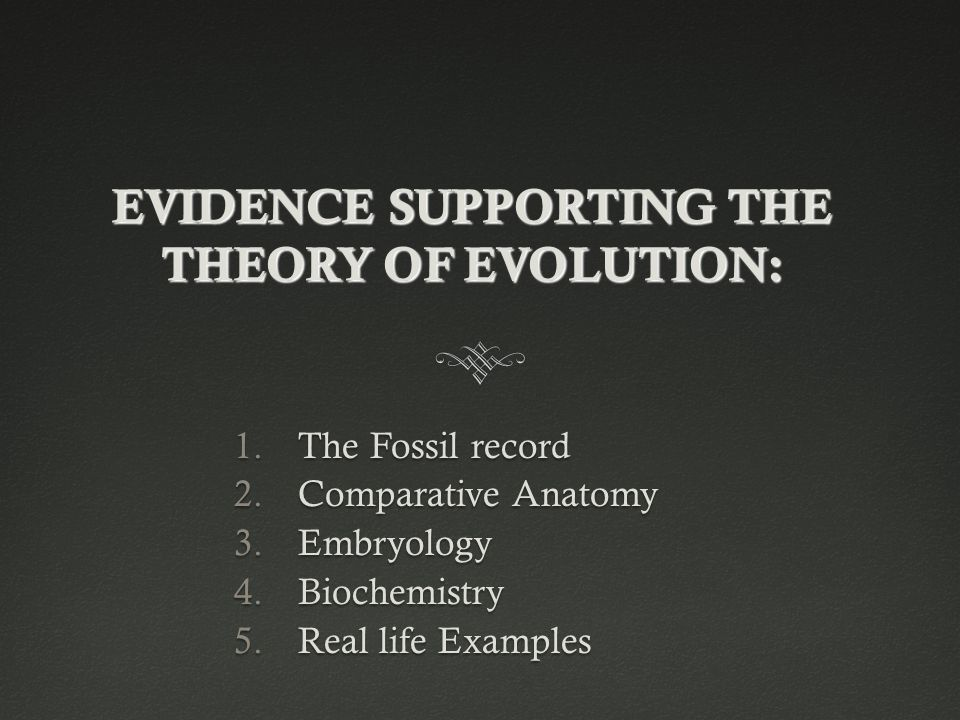 EVIDENCE SUPPORTING THE THEORY OF EVOLUTION:
