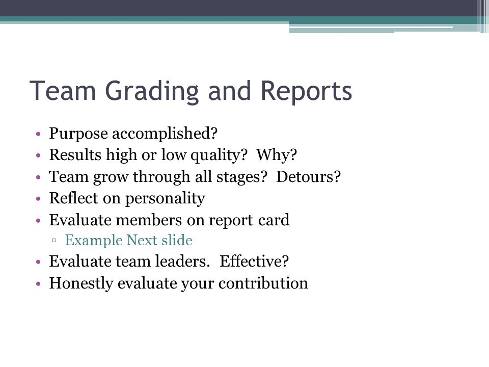 Team Grading and Reports