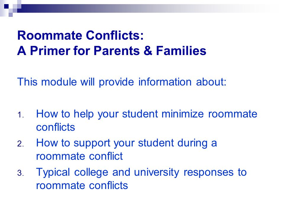 Roommate Conflicts: A Primer for Parents & Families