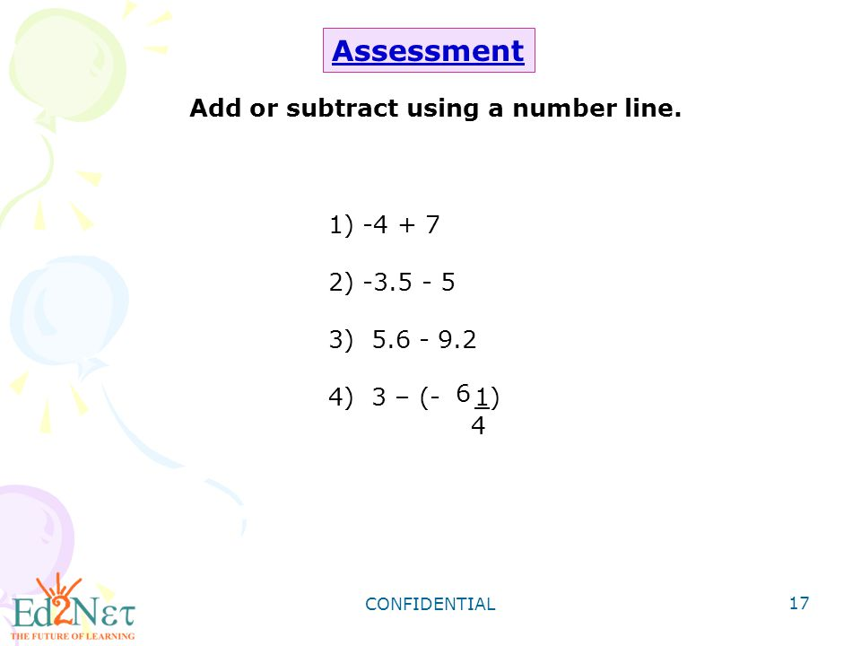 Add or subtract using a number line.