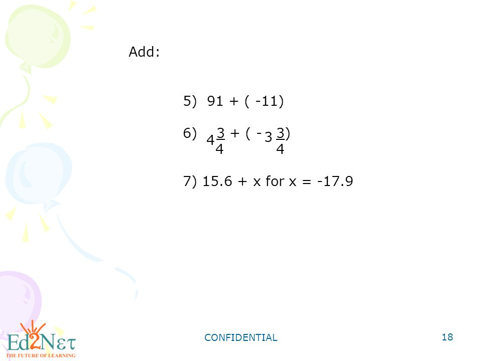 Add: 91 + ( -11) 3 + ( - 3) 4 4 3 7) 15.6 + x for x = -17.9 4