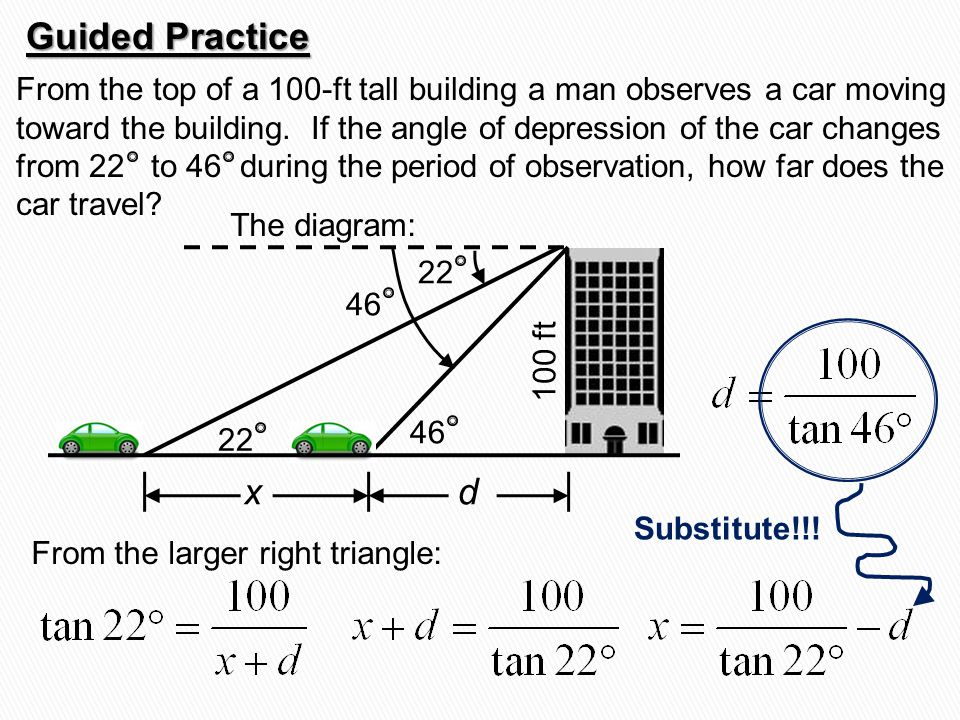 Guided Practice From the top of a 100-ft tall building a man observes a car moving.