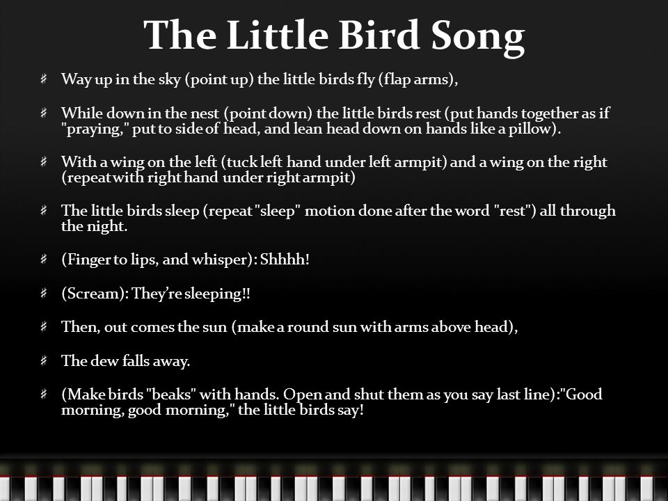 The Little Bird Song Way up in the sky (point up) the little birds fly (flap arms),