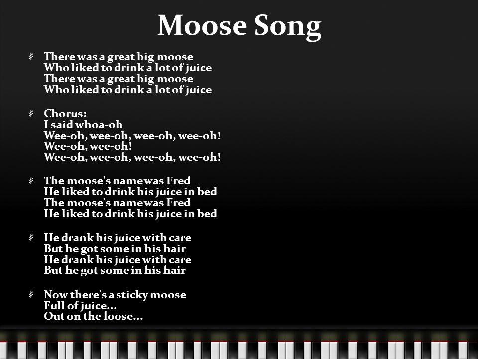 There was a moose lyrics