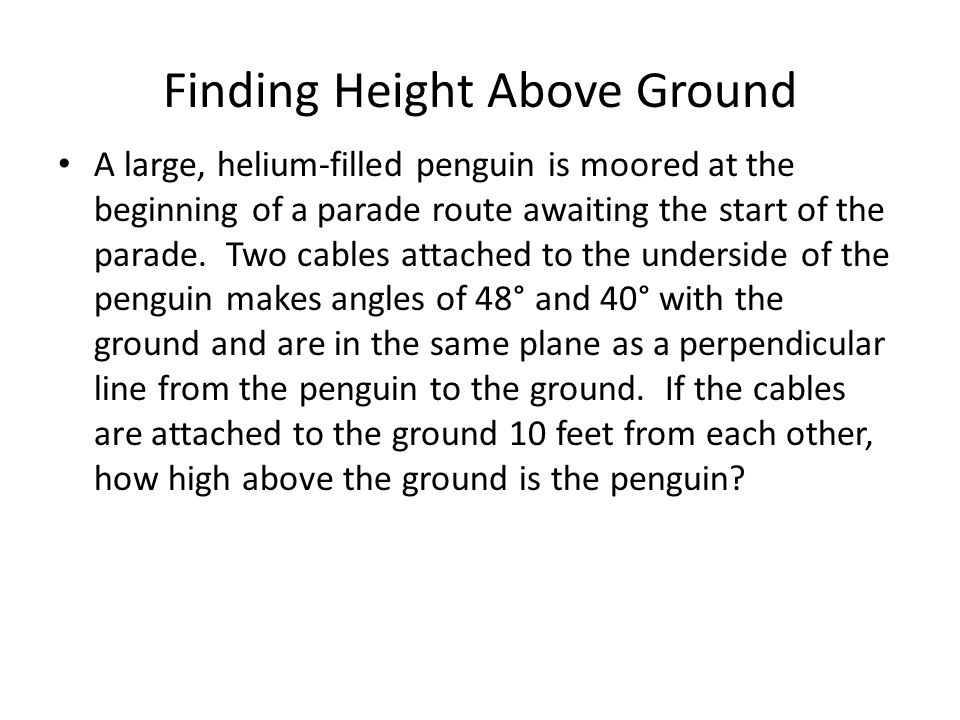 Finding Height Above Ground