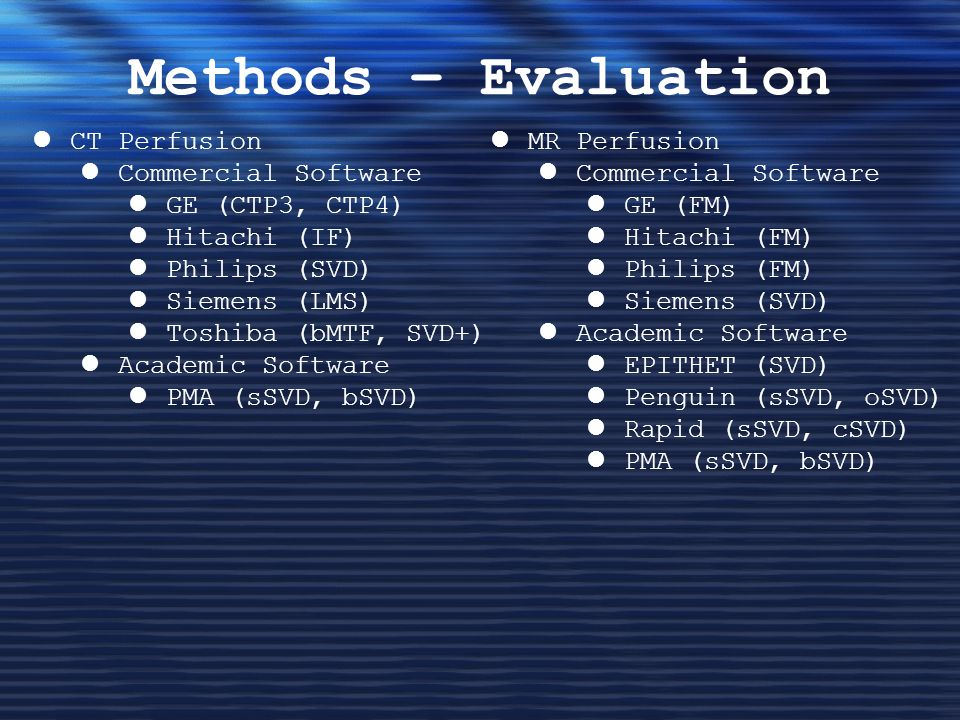 Methods – Evaluation CT Perfusion Commercial Software GE (CTP3, CTP4)