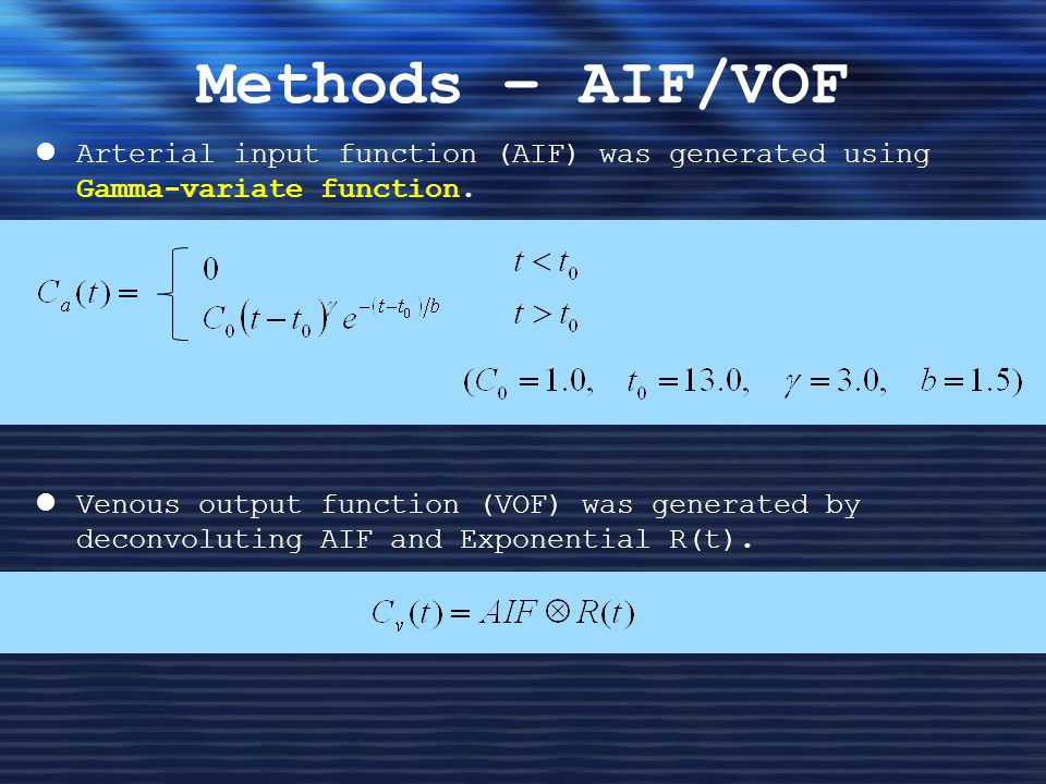 Methods – AIF/VOF Arterial input function (AIF) was generated using Gamma-variate function.