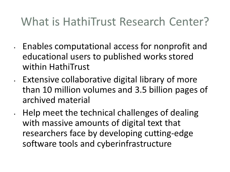What is HathiTrust Research Center
