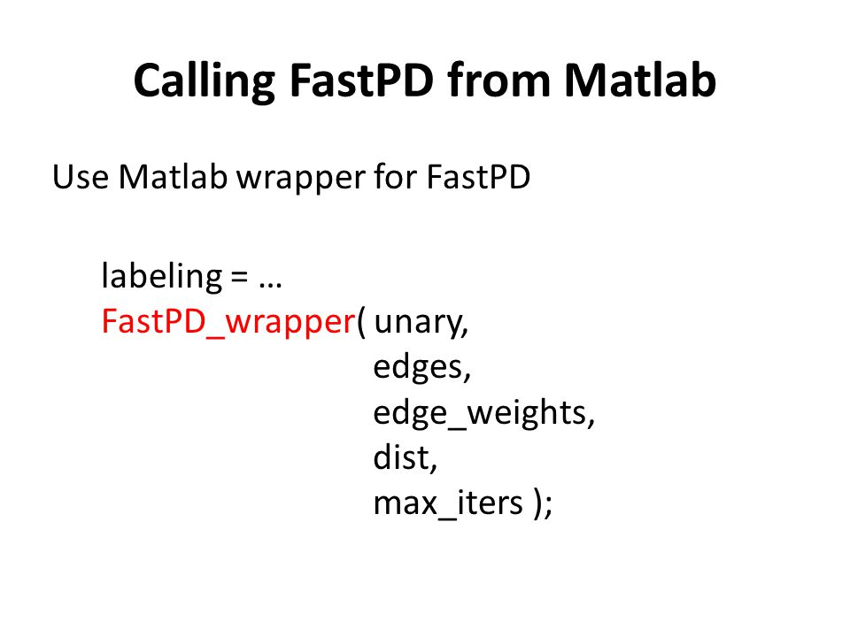 Calling FastPD from Matlab