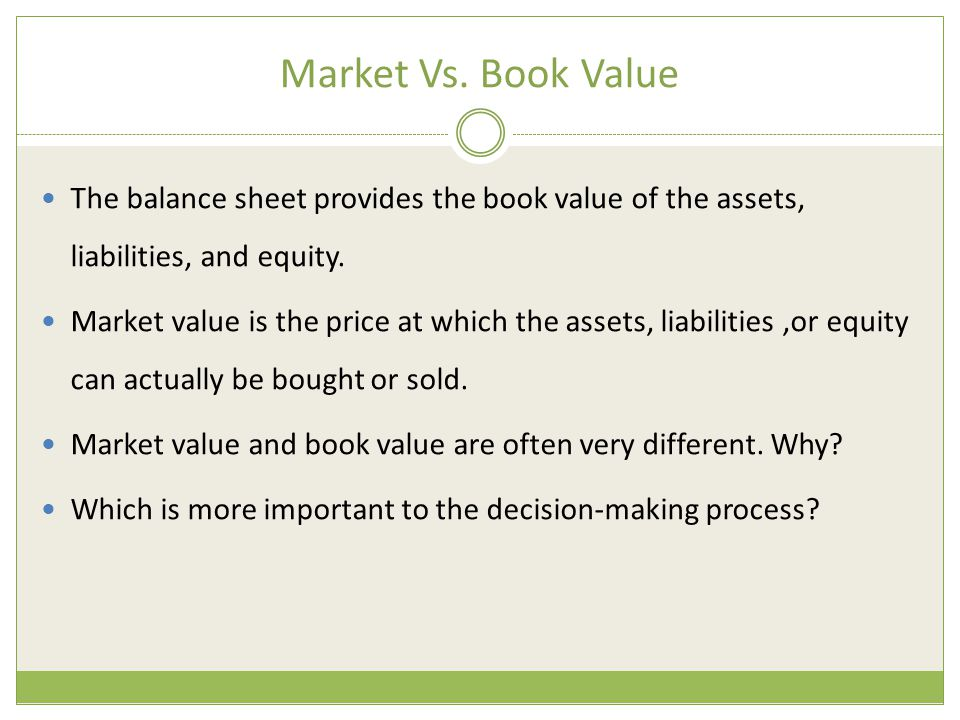 Market Vs. Book Value The balance sheet provides the book value of the assets, liabilities, and equity.