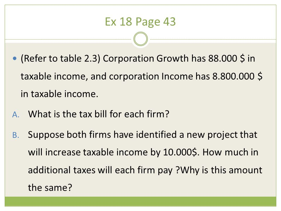 Ex 18 Page 43 (Refer to table 2.3) Corporation Growth has 88.000 $ in taxable income, and corporation Income has 8.800.000 $ in taxable income.