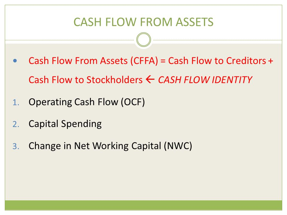 CASH FLOW FROM ASSETS Cash Flow From Assets (CFFA) = Cash Flow to Creditors + Cash Flow to Stockholders  CASH FLOW IDENTITY.