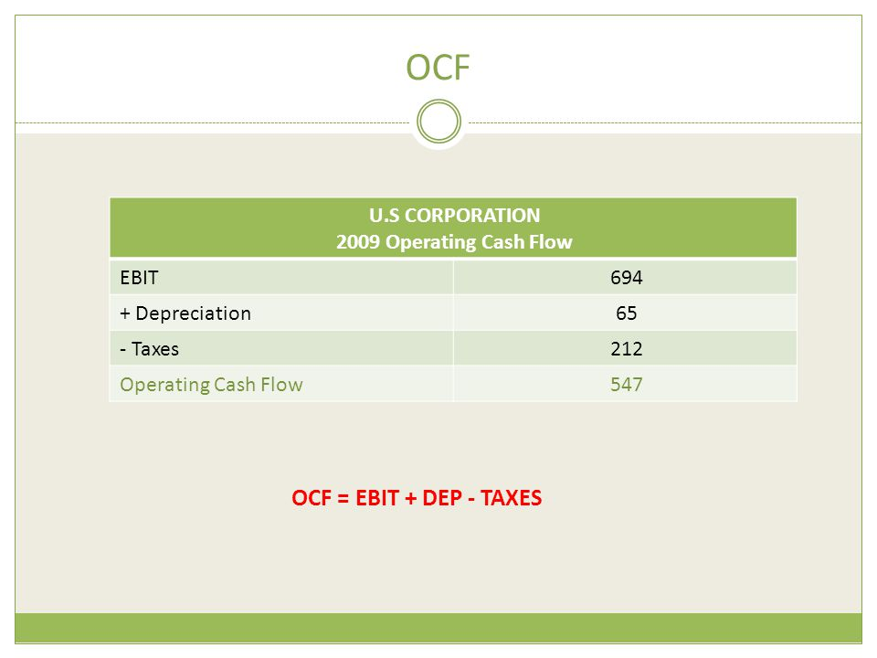 OCF OCF = EBIT + DEP - TAXES U.S CORPORATION 2009 Operating Cash Flow