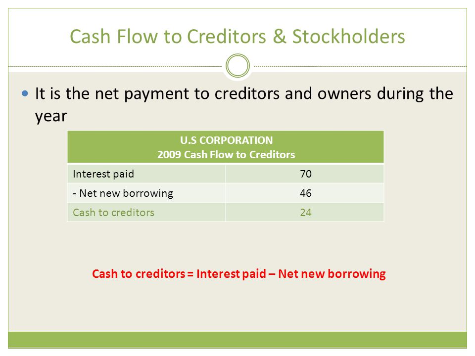 Cash Flow to Creditors & Stockholders