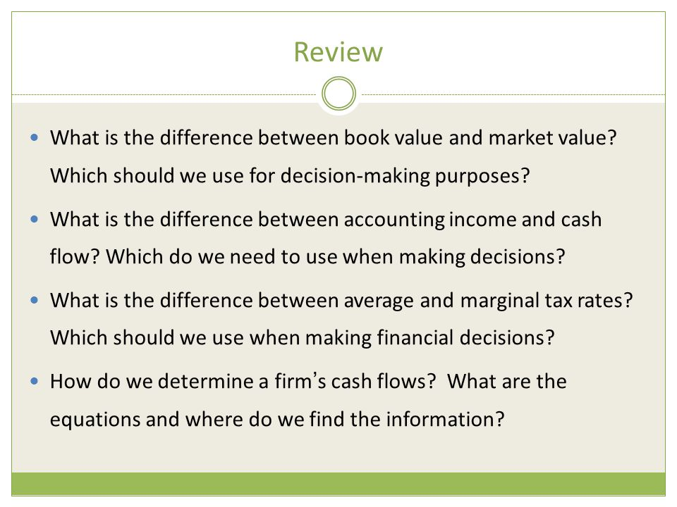 Review What is the difference between book value and market value Which should we use for decision-making purposes